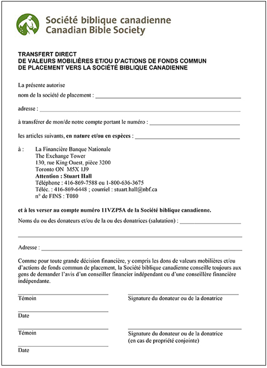 Gift of Securities form - French